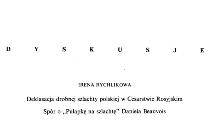 deklasacja drobnej szlachty polskiej
